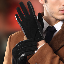 Men'S Genuine Leather Gloves Fall And Winter Plus Cashmere Warm Stitching Sheep Leather Suede Gloves 9003-5