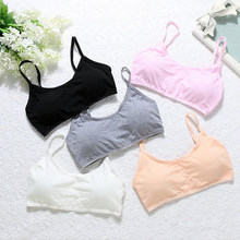 Young Girls Students Bra Padded Solid Soft Cotton Children Sling Without Steel Ring Underwear Kid Vest Bras Teenage Underclothes(China)
