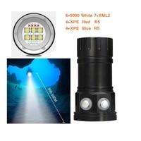 Diving 18650 Flashlight XM L2 Underwater Photography Lights 500W Video Lamp LED Scuba Photo lighting lantern Lamp White Red