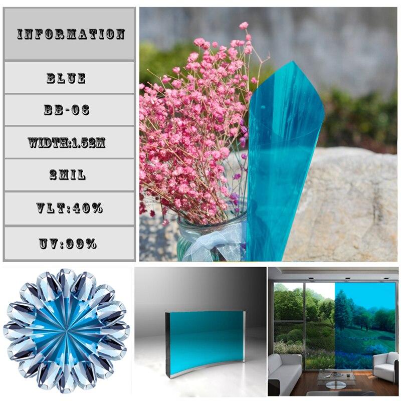 Feuilles décoratives bleu ciel teintes de fenêtre 60inchx33feet/1.52x10 m Film de fenêtre architecturale