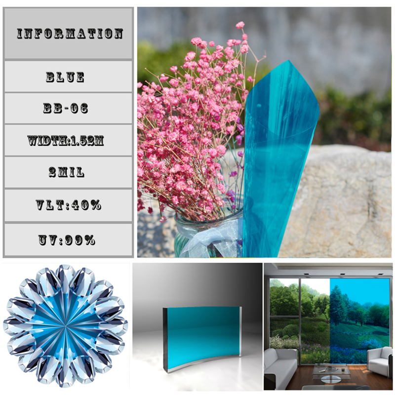 Sky blue Decorative Foils Window Tints 60inchx33feet/1.52x10m architectural Window Film