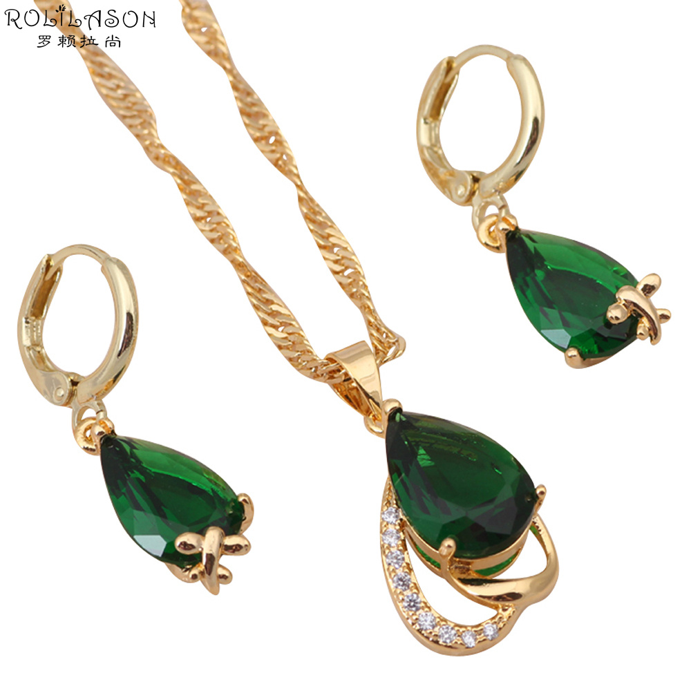 Brand Charming Jewelry Sets Good Quality Earrings & Necklace Gold Tone  Peridot Crystal Fashion Jewelry Js197