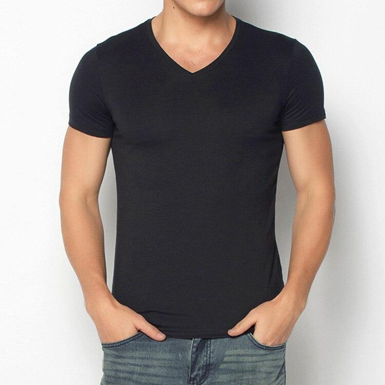 T-shirt homme manches longues col en v couleur uni décontracté grande taille coton T-shirt printemps/automne mode hommes V-694-699
