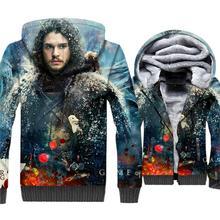 Jon Snow Printed 3d Jackets Men Game Of Thrones 2019 Winter Warm Hoodies Sweatshirts Mens Loose Fit Zipper Coat TV Show Hooded