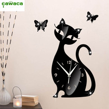 Hot Sales DIY Wall Clock 3D Cat Butterfly Home Decor Acrylic Slient Needle Quart Clock Wall Sticker for Living Room