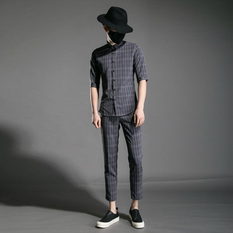 M XXL!! Trend Men's Youth Slim Personality Night Field Hair Stylist Clothing Plaid Nine Pants Half Sleeve Shirt Set. - 3