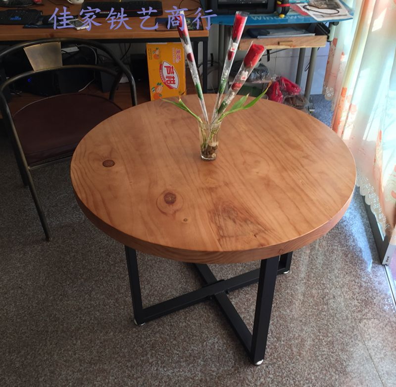 American Industrial Round Wood Table Big Round Table And