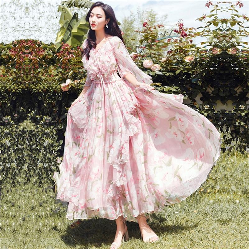 Été 2019 Femmes De robe Bohème Floral En Mousseline de Soie Maxi robe Coréenne Doux Mignon décontracté Plage robe longue robe longue robes vadim