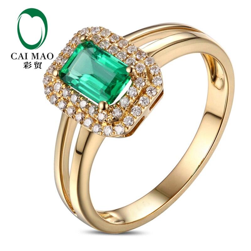 0.73ct колумбийский изумруд с бриллиантами Обручение кольцо в 14 К желтого золота