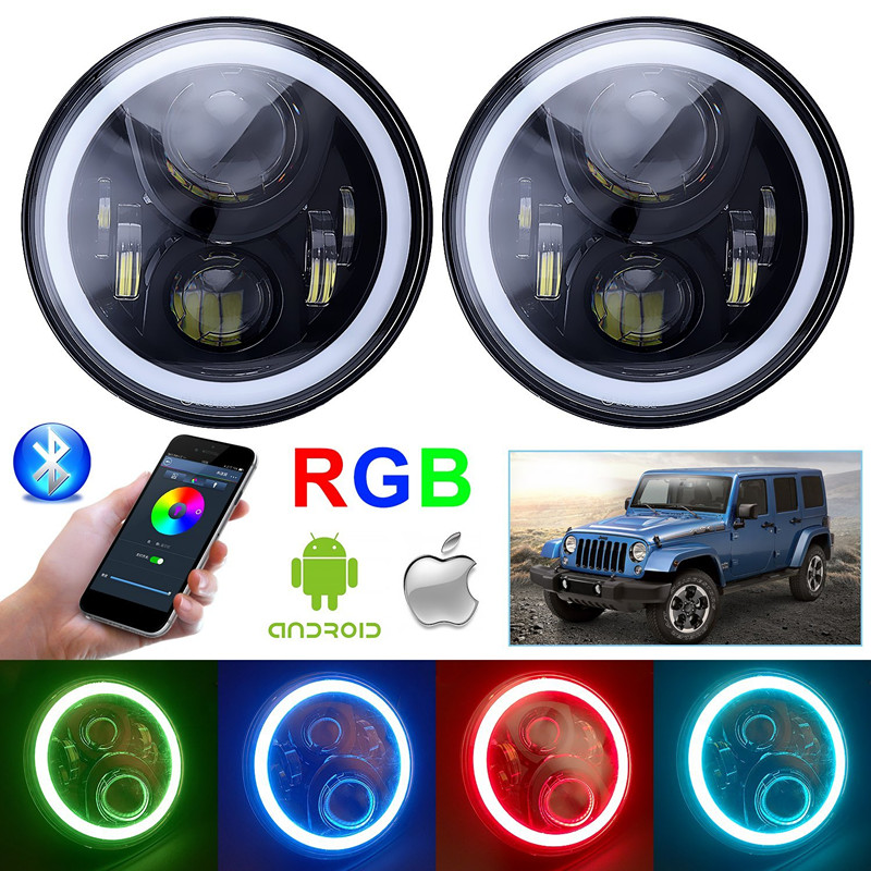 7 inch LED projector Headlights RGB Halo Ring Angel Eyes Round Multicolor DRL Bluetooth Remote Control for Jeep Wrangler JK LJ 7inch round 105w led projector headlight h4 drl high low beam yellow halo angel eyes for harley 07 15 wrangler
