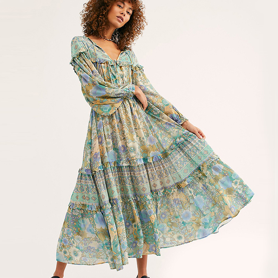 TEELYNN Gypsy dress 2019 rayon amathyst green floral print summer Dresses elastic waist long sleeve women