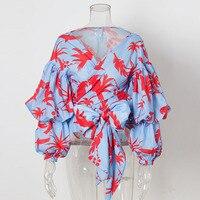 2018 Fashion Gathered Puff Sleeve Birds Print Boho Wrap Tops Women Summer Elegant Layers Long Sleeve V Neck Bow Chiffon Blouse