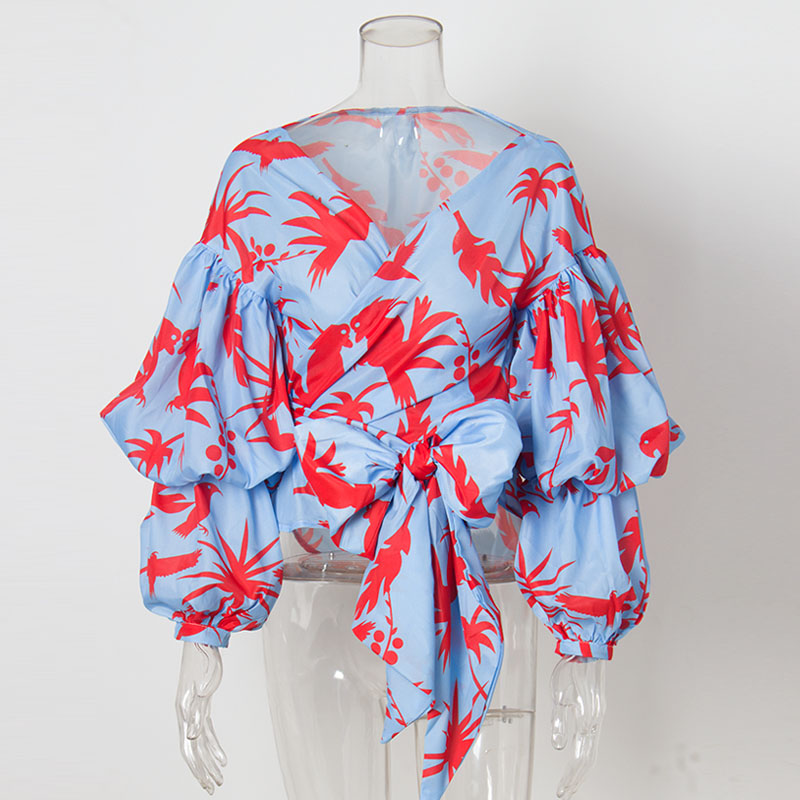 2020 Fashion Gathered Puff Sleeve Birds Print Boho Wrap Tops Women Summer Elegant Layers Long Sleeve V Neck Bow Chiffon Blouse