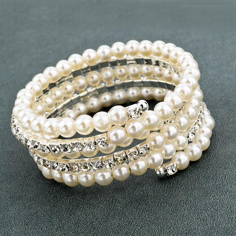 Longway Fahsion Crystal Imitation Pearl Bracelets For Women Multi Layer Wide Bangles Pulseras Jewelry Sbr150357 In Cuff From