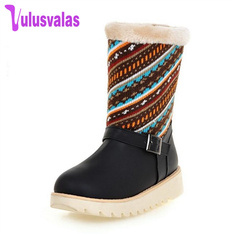 Vulusvalas Fashion Women Flats Snow Boots Thick Fur Patchwork Embroidery Mid Calf Boots Women Winter Warm Fur Shoes Size 34-43