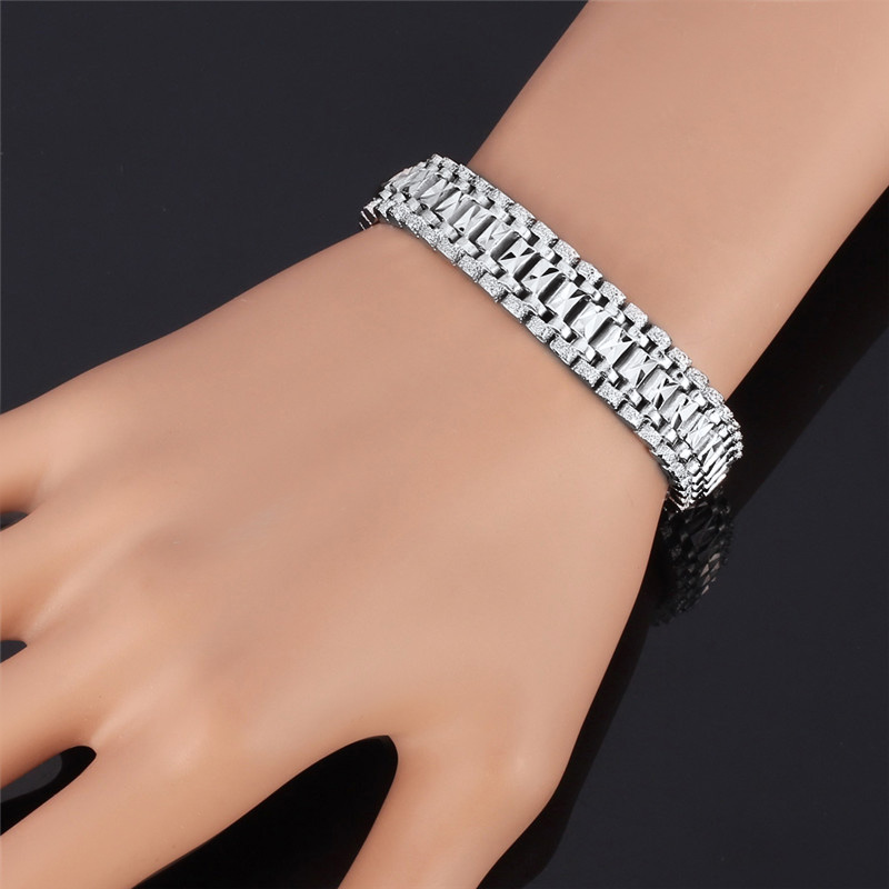 U7 Mens Bracelet Punk Rock Style Black/Silver/Gold Color Big Wide Chunky Chain Link Bracelets Meditation Men Jewelry Gift H550 7