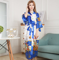 Novelty Printed Long Style Women Kimono Robe Vintage Printed Nightgown Bathrobe Satin Sleepwear Dressing Gown One Size M05