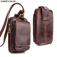 CHEZVOUS Universal Leather Belt Clip Holster for 5.1''~5.5'' Mobile Phone Fashion Mens Waist Bag for Huawei/Xiaomi/Nokia Pouch