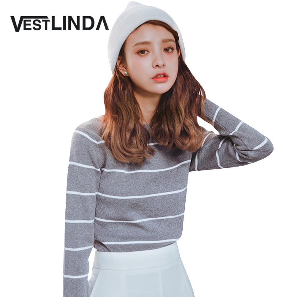 Lovely Pull A La Mode #8: VESTLINDA Bande Chandail Tricoté Pulls À La Mode Femmes Vêtements Chandails  De Mode Femmes O Cou