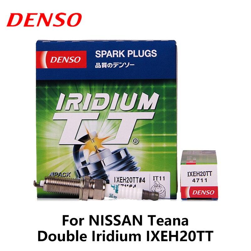 4 pièces/ensemble DENSO Voiture bougie d'allumage Pour NissanTeana 2.0L/2.5L Renault Megane Fluence Scenic 2.0L 2011-Double Iridium IXEH20TT