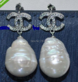 xiuli 00274 Baroque 16mm Huge Cultured pearl Earring  shipping