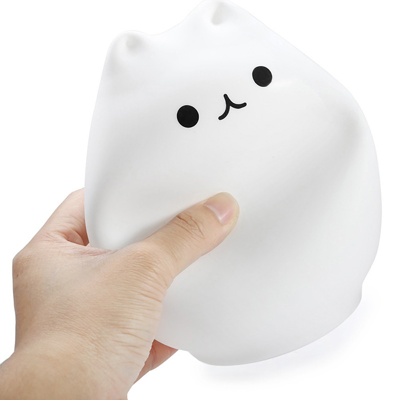Cat USB LED Children Animal Night Light Silicone Soft Cartoon Baby Nursery Lamp Breathing LED Night Light 7 Colors