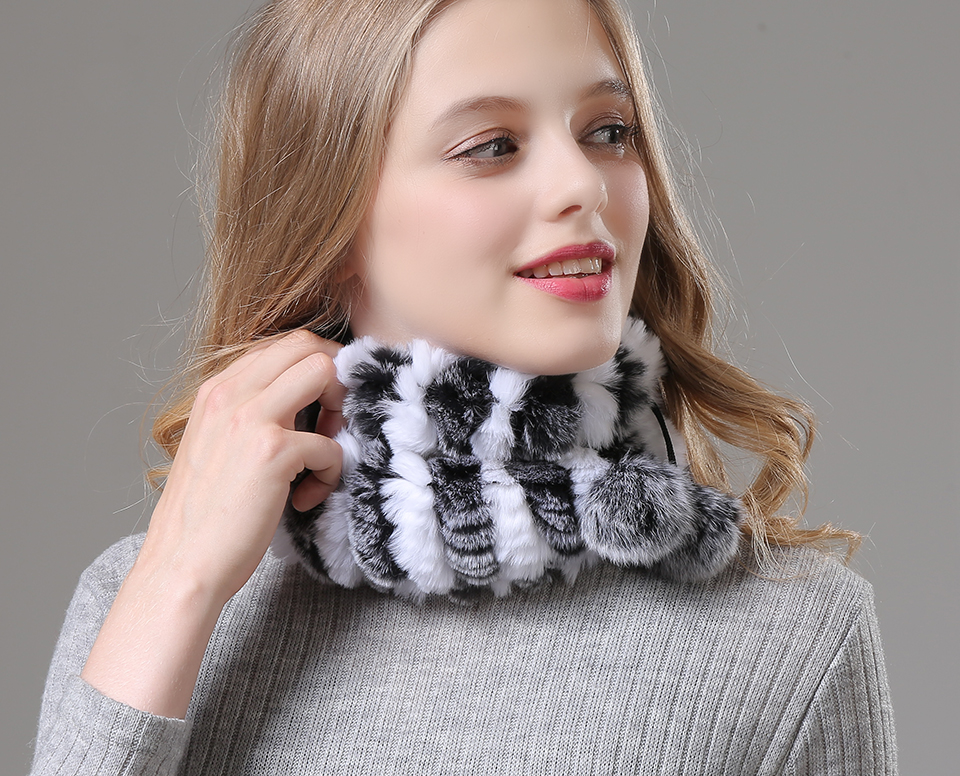 Womens Winter Hats Scarf Knitted Real Rabbit Fur Hat Natural fur Neck Scarf Girls Winter Warm Hat Beanies (14)