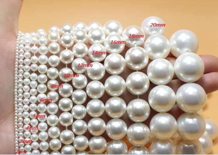 One Strands 3mm 6mm 8mm 10mm 20mm Bright White round bead natural South Sea shell pearl loose beads 35cm / 14.5inch DIY