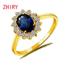Genuine Yellow Gold Ring 100% natural sapphire Gem fine jewelry Precious stone woman rings anniversary wife noble elegant