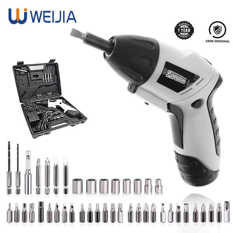 Mini Electric Screwdriver Lithium Battery Operated Cordless Screw Driver Drill Tool Set Bidirectional Switch With 43pcs Screws