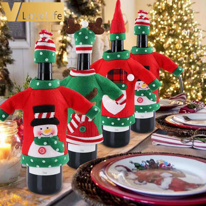 Christmas Decoration Red Wine Bottle Cover Set Office Ugly Sweater Party Products Gifts Home Xmas Party New Year Decor Supplies