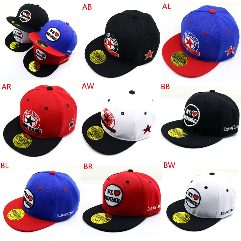2019 Fashion Boys Girls Children Hip Hop Caps Hats Child Adjustable Sun Protection Fashion Letter Print Holiday Travel Headwear