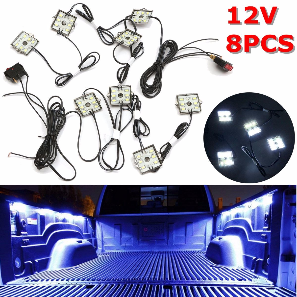 12V 8pcs Waterproof 5630 SMD Truck Bed/Work Box Led Lighting Kit White Beam title=