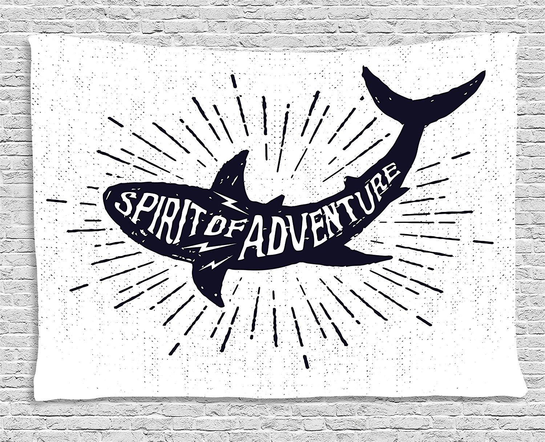 Squalo Arazzo Spirito di Avventura Citazione su UN Corpo di Pesce Della Fauna Selvatica Motivazionale Grunge Disegno, Appeso A Parete per la Camera Da Letto