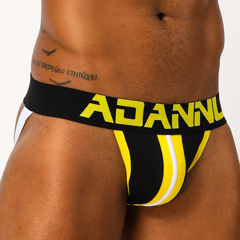 Sexy Gay Men Underwear Jock Strap Stripe Thong Jockstrap Mens Thongs And G Strings Sissy Lingerie Panties Under Wear Brief AD165