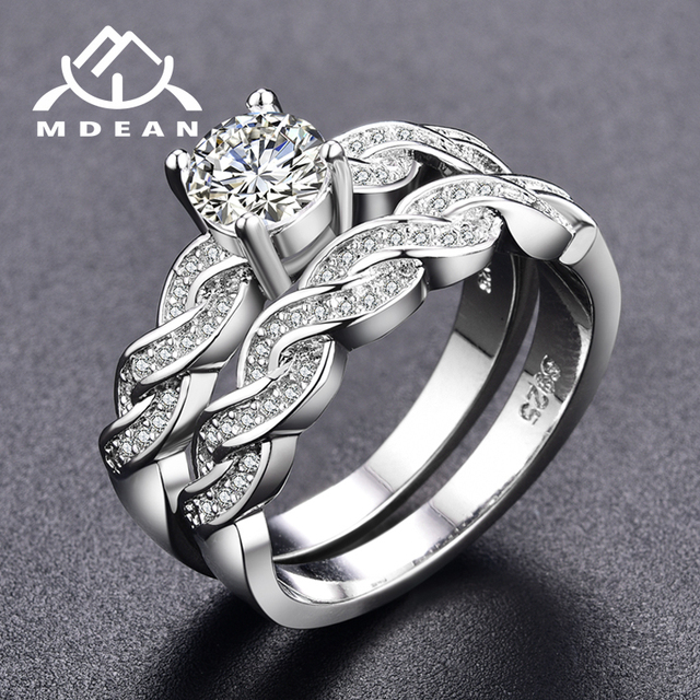 MDEAN White Gold Color Ring Sets For Women Engagement Women Rings Bijoux Vintage  Wedding Ring Sets