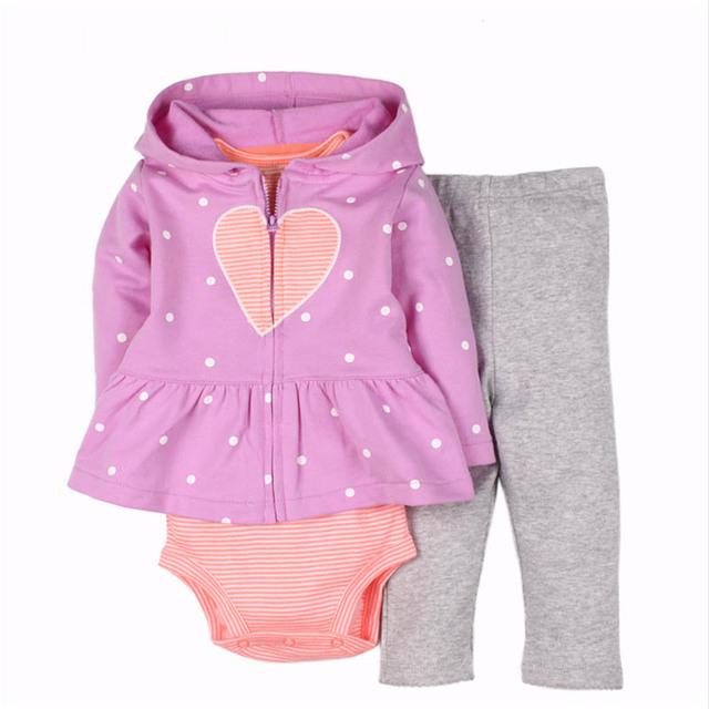 2017 venda quente bebê menina jaqueta com zíper de algodão casaco cardigan crianças clothing três-pedaço meninas do bebê confortável conjunto bonito
