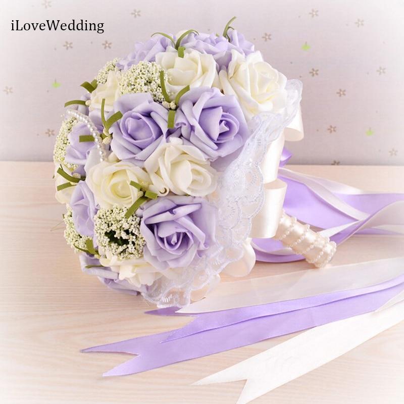 iLoveWedding 2017 Beautiful Purple Wedding Bouquet Handmade Bridal Flower Wedding Bouquets Artificial Pearls Flower Rose Bouquet