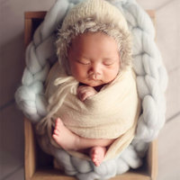 Merino woolen crochet blanket,Basket woolen filler stuffer,baby soft backdrop photography props