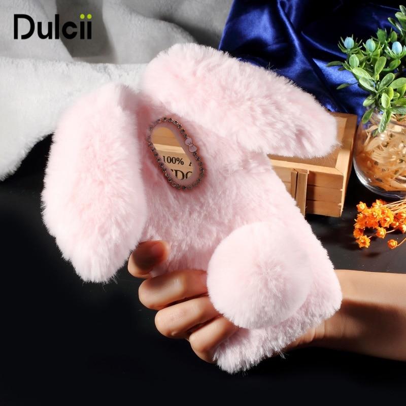 Rabbit Shape Fluffy Fur Bunny Soft Furry Fur TPU Casing Cover Kickstand for Xiaomi Mi 5X A1 Mi Max 2 Redmi 5A Xiomi Redmi 6 Case