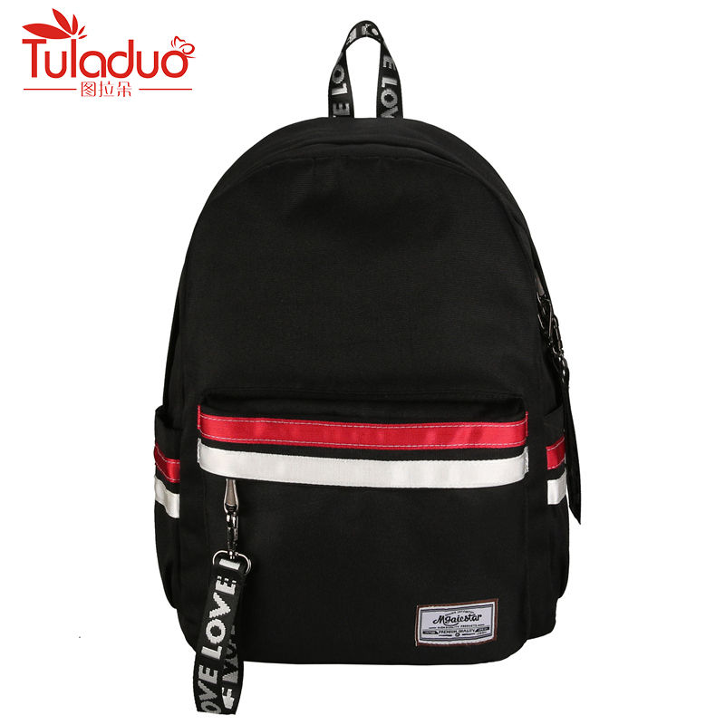 High Quality Canvas Women Backpacks Fashion Patchwork School Backpack For Girls Double Zipper School Backpack Travel Backpacks