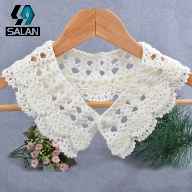 Wild new autumn and winter cotton collar flowers DIY shirt knitted ...