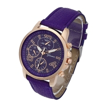 Womens Watches Fake Leather-based Stainless Metal Dial Analog Quartz Wristwatch Color:Purple