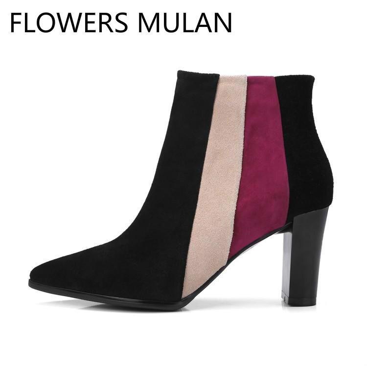 18b157284 Rosa verde Vino Punta Rojo Botas Zapatos Negro Ante Chic Para Señoras Tacón  Mujer Mezclado Alto ...