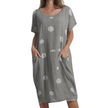 Хлопковое и льняное удобное свободное платье большого размера с карманами, однотонное платье в горошек, летнее пляжное платье для улицы, повседневная одежда, элегантное платье