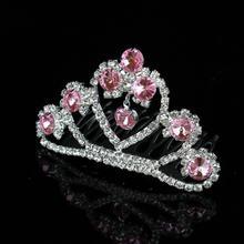Moda Piccola principessa delle ragazze rosa Strass di cristallo diadema  piccolo pettine dei capelli gioielli da sposa accessori . 3db9b8e6a523