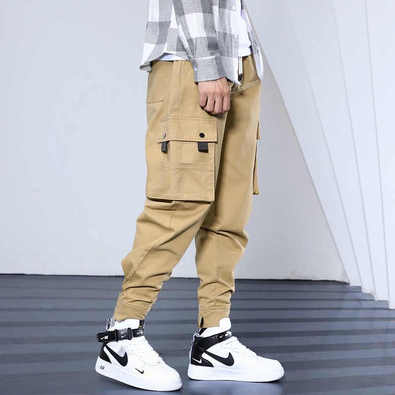 Модные уличные мужские джинсы свободного кроя с большим карманом, брюки карго Hombre, брюки в стиле хип-хоп, брюки для бега в японском стиле для мужчин