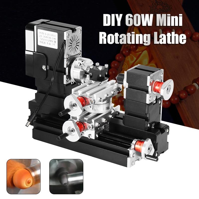 Nuovo 60 W 12000 rpm Mini Rotante In Metallo Tornio FAI DA TE Lavorazione Del Legno Tornio di Legno Modello di Strumento di Creazione di Fresatura Macchina Kit