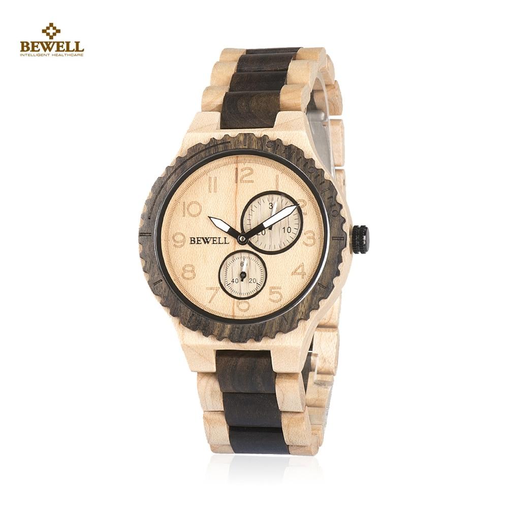 BEWELL ZS-W154A montre homme en bois calendrier lumineux pointeur naturel montre-bracelet pour hommes