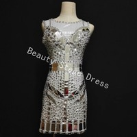 Sparkly Crystals Mirrors Dress Stage Wear Silver Shinging Dress Women Singer Rhinestones Evening Luxurious Outfit